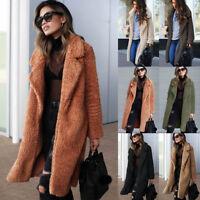 Women's Teddy Bear Thick Warmer Pocket Fleece Jackets Coat Open Outwear Overcoat