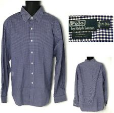 Polo Ralph Lauren Dress Shirt 17.5 XL Curham Classic Fit Gingham Long Sleeve