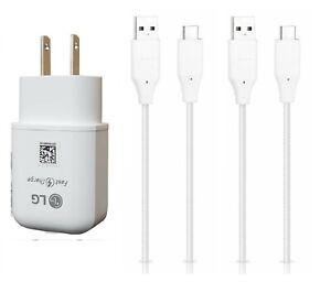 LG ORIGINAL FAST ADAPTIVE CHARGER+ 2Pk LG TYPE C USB FOR LG G5,G6,G7,G8,G8 ThinQ
