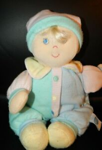 Eden Vintage Plush Doll Baby Lovey Pastel Blue Green Yellow Pink Stripes Flaws