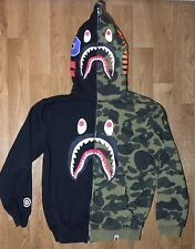 VTG Bape Bathing Ape shark hoodie jacket full zip Camo & Black L.