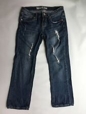 Machine Women's [Size 3] Distressed Straight Leg Blue Jeans Cropped #Q37
