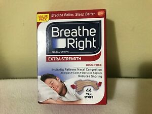 Breathe Right Nasal Strips Extra Strength - 44 Tan Strips, Free Shipping