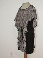 Cynthia Steffe Flouncy Silk Black / White Dress sz 4