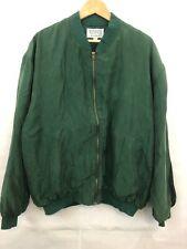Vintage Winner 100% Washed Silk Bomber Jacket Sz XL Green Lined YKK Full Zip