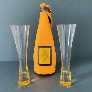 2 Veuve Clicquot Champagne Rare Hand Blown Glass Flutes Amber Base - VERY RARE