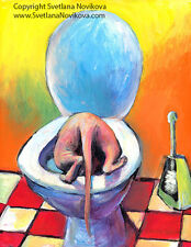 ART PRINT Funny Sphynx Cat drinking from a toilet painting Svetlana Novikova