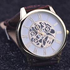 Men's Sport Watch Rome Digital Leather Band Analog Dial Quartz Wrist Watch Brown