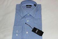 Hugo Boss Men's Cotton Blue Check Slim Fit Dress Shirt NWT $150 Size 16 EU 41