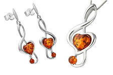Treble Clef Pendant Earrings Set Sterling Silver Natural Amber Jewelry Jewellery