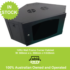 9RU Corner Mounted Data Cabinet 900 x 550 w/ Power Rail