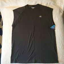 Champion Mens Jersey Atheltic Fit Tee Classic Cotton T-Shirt Sleeveless XL Black