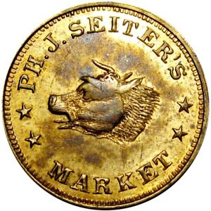 New York City Civil War Token Ph J Seiter's Market Bull Steer Horns