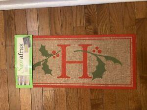New! Evergreen SASSAFRAS Insert Holly & Berry MAT ~ Letter H Monogram