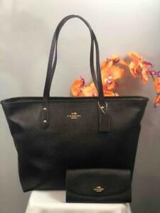 COACH Luxury Black Leather XL Large City Shoulder Tote Bag w. Matching Wallet