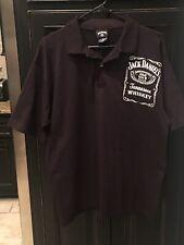 Jack Daniels Authentic Mens Polo Shirt LARGE Black Short Sleeve Old No 7 Whiskey