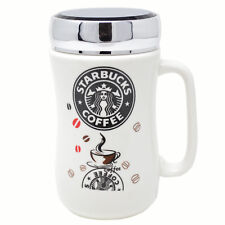 SET OF 2 STARBUCKS TRAVEL MUG CERAMIC COFFEE TEA CUP LID WORK HOT COLD DRINKS