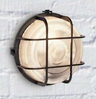 60w External Round Black Caged Bulkhead with Wire Guard and Glass Diffuser
