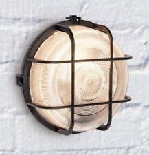 60w esterna rotonda Nero PARATIA A GABBIA CON PROTEZIONE FILI e diffusore in vetro
