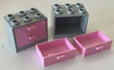 *NEW* 2 Sets Lego GRAY Container CUPBOARD 2x3x2 w BRIGHT PINK DRAWERS 4532 4536