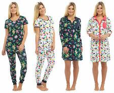 Ladies Summer Pyjamas or Nightshirt Cuffed Navy Blue White Bird Floral Tropical