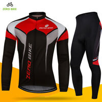 Men's Cycling Wear Long Sleeve Bike Bicycle Shirt Jersey Gel Pad Pants Set US