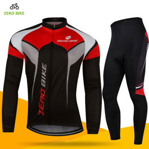Men's Cycling Wear Long Sleeve Bike Bicycle Shirt Jersey Gel Pad Pants Set US