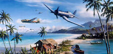 Nic Trudgian F4U Corsair print Battle for the Islands signed by US Marine pilots