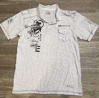 Vertical Sport Men's Casual Short Sleeve Shirt Size Large 3 Button White EUC B2