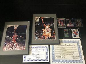 MICHAEL JORDAN Scottie Pippen LOT SIGNED AUTOGRAPH 8X10 Framed W/COA Bonus Cards