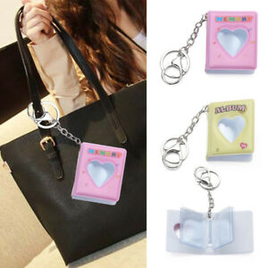 Candy Color 1 Inch 16 Photos Card Holder Key Rings Mini Photo Album Keychain