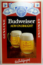 """Vintage Budweiser Now On Draught This Bud's For You 17""""t Cardboard Counter Card"""