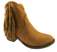 LADIES FAUX SUEDE COWBOY ANKLE FRINGE BOOTS SIDE ZIP BLOCK HEEL TAN SIZE 3-9