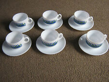 6 ARCOPAL FRANCE COFFEE CUPS & SAUCERS-EXC COND.-APPEAR UNUSED-WHITE/BLUE/GREEN