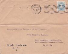 "1931 Denmark #216 PERFIN ""B.J."" to Los Angeles CA *d"