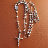 "925 sterling silver rosary italy rosario    24""inches  5mm"