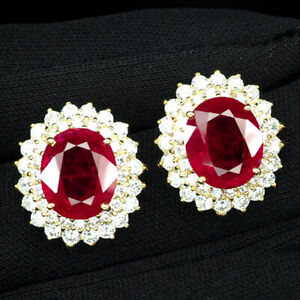 RUBY BLOOD RED OVAL 17 CT. SAPPHIRE 925 STERLING SILVER GOLD EARRINGS JEWELRY