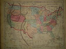 Antique 1856 Hand Colored ~ UNITED STATES MAP ~ Old Authentic Vintage Atlas Map