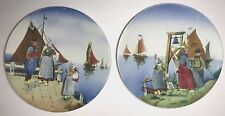 """Pair 12"""" made in Germany Hand Painted Wall Cabinet Plates"""