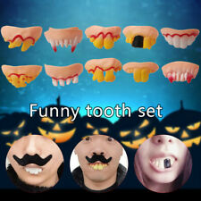 Halloween 10 Pcs Ugly Fake Teeth Costume Party Funny Gag Gift