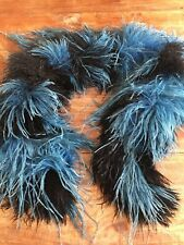 Vintage 1920's Feather Boa - Collar Beautiful Blue And Black Ostrich Feathers