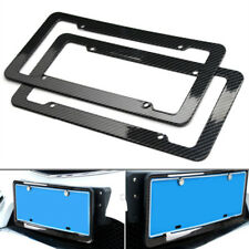 2x Accessories Carbon Fiber Style Car License Plate Frames Cover Black Universal