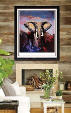 Large MARK KING Original Color Serigraph Elephant Lone Tusker Signed Artwork SBO
