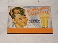Old Generic 1960's Sparkling Cocktail Cordial Soft Drink Bottle Paper Label