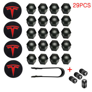 Tesla Model 3 S X Y Car Wheel Center Hub Cap Cover Lug Nut Covers Kit Red 29pcs
