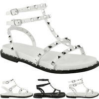 Womens Ladies Flat Studded Sandals Summer Strappy Embellished Rock Shoes Size UK