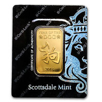 1 oz Gold Bar - Scottsdale Year of the Dog (In Certi-Lock® Assay) - SKU#161465