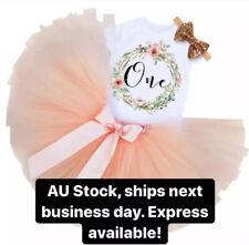 First 1st Birthday Girl Outfit Peach Tutu Dress Cake Smash AU stock