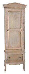 Loire French Grey Solid Mango Wood 1 Door Single Wardrobe /Part Assembled