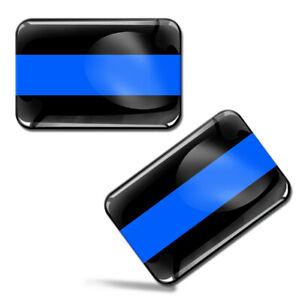 2 x 3D Gel UK Police Flag Thin Blue Line USA GB Decal Stickers Car Auto Moto F36